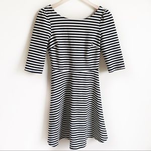 Anthropologie Dress A Line Striped Black Size M